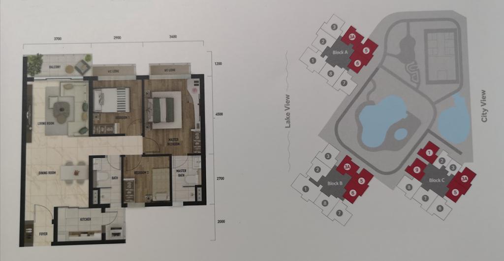Type C: 943 sq.ft (3 bedrooms 2 bathrooms)
