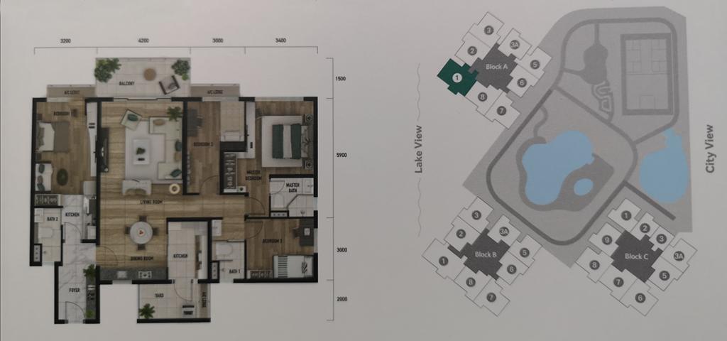 Type E: 1484 sq.ft (4 bedrooms 3 bathrooms)