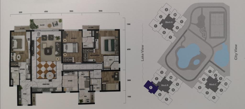 Type F: 1687 sq.ft (4+1 bedrooms 5 bathrooms)